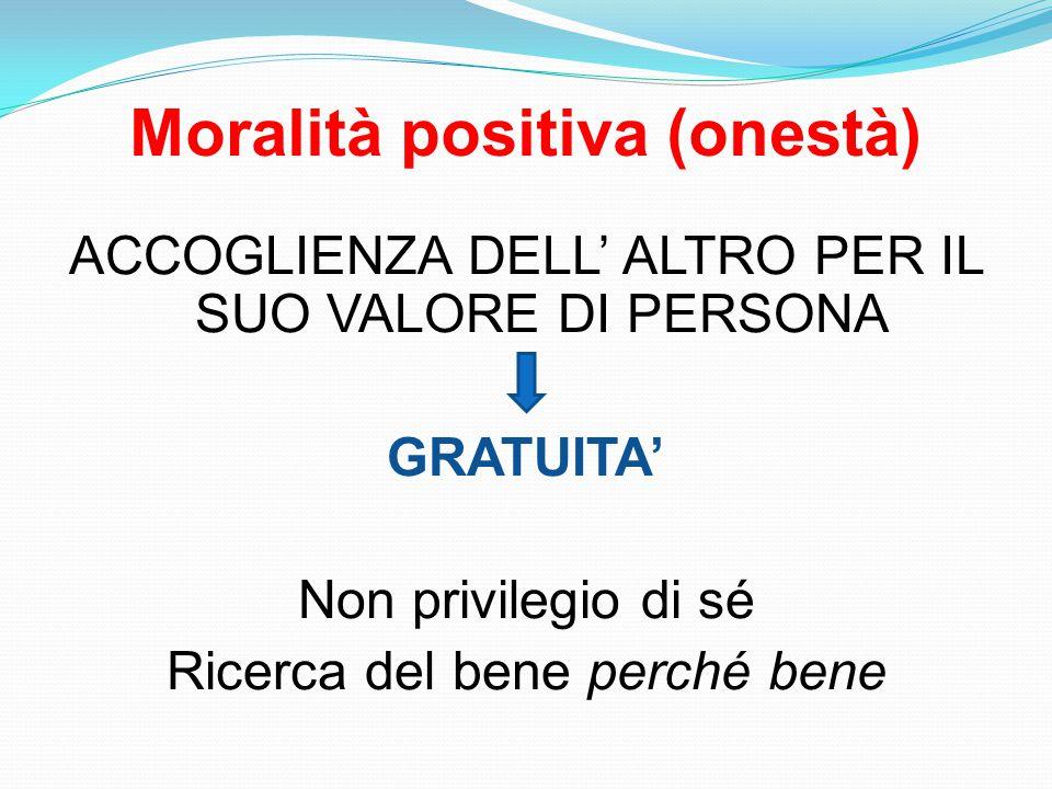 Moralità positiva (onestà) ACCOGLIENZA DELL' ALTRO PER IL SUO VALORE DI PERSONA GRATUITA' Non privilegio di sé Ricerca del bene perché bene