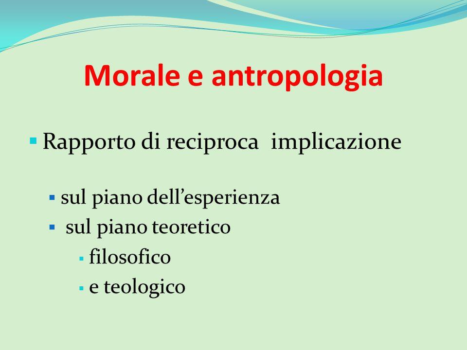 Morale e antropologia  Rapporto di reciproca implicazione  sul piano dell'esperienza  sul piano teoretico  filosofico  e teologico