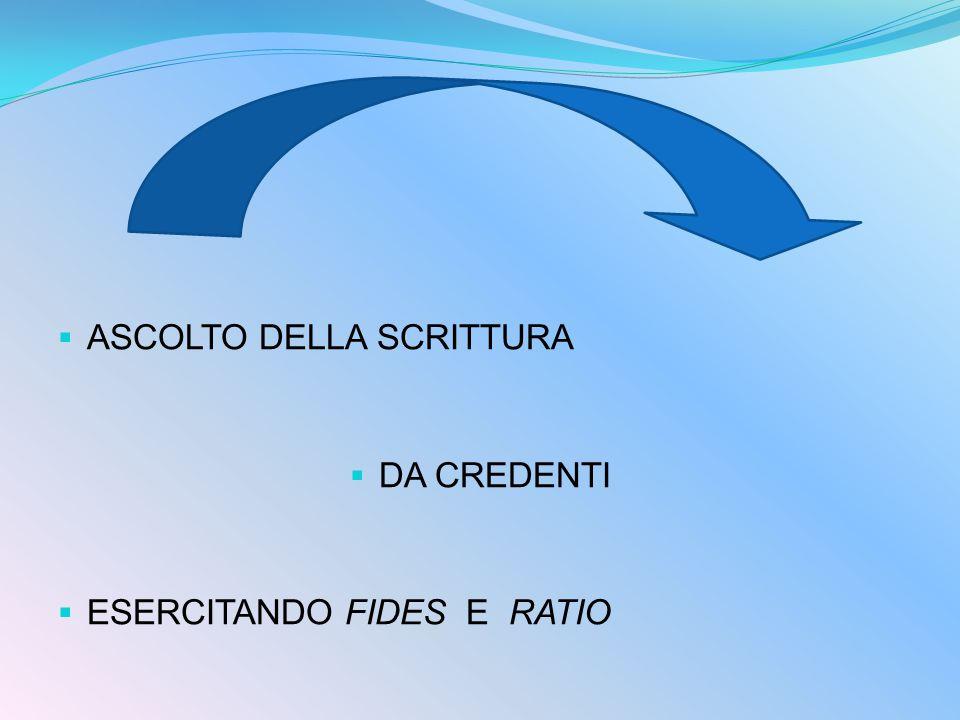  ASCOLTO DELLA SCRITTURA  DA CREDENTI  ESERCITANDO FIDES E RATIO