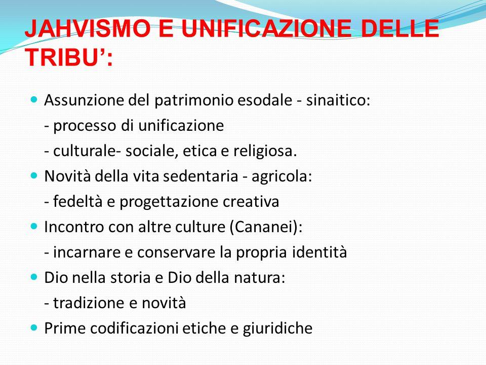 JAHVISMO E UNIFICAZIONE DELLE TRIBU': Assunzione del patrimonio esodale - sinaitico: - processo di unificazione - culturale- sociale, etica e religiosa.