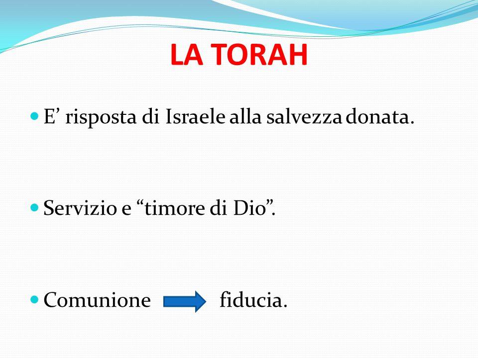 LA TORAH E' risposta di Israele alla salvezza donata.