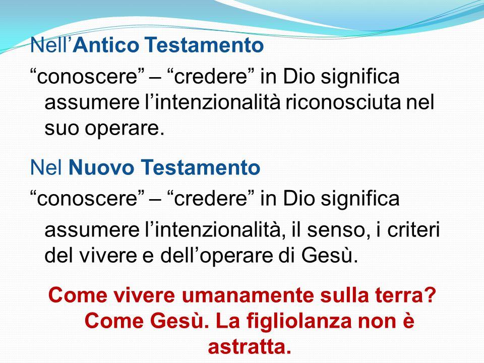 Nell'Antico Testamento conoscere – credere in Dio significa assumere l'intenzionalità riconosciuta nel suo operare.