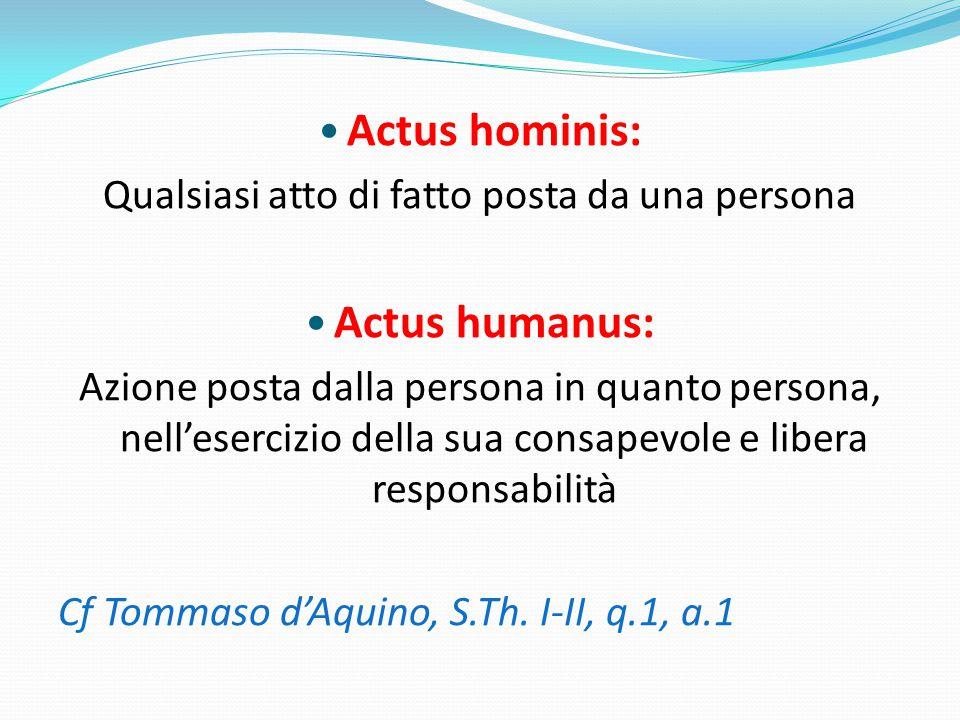 Actus hominis: Qualsiasi atto di fatto posta da una persona Actus humanus: Azione posta dalla persona in quanto persona, nell'esercizio della sua consapevole e libera responsabilità Cf Tommaso d'Aquino, S.Th.