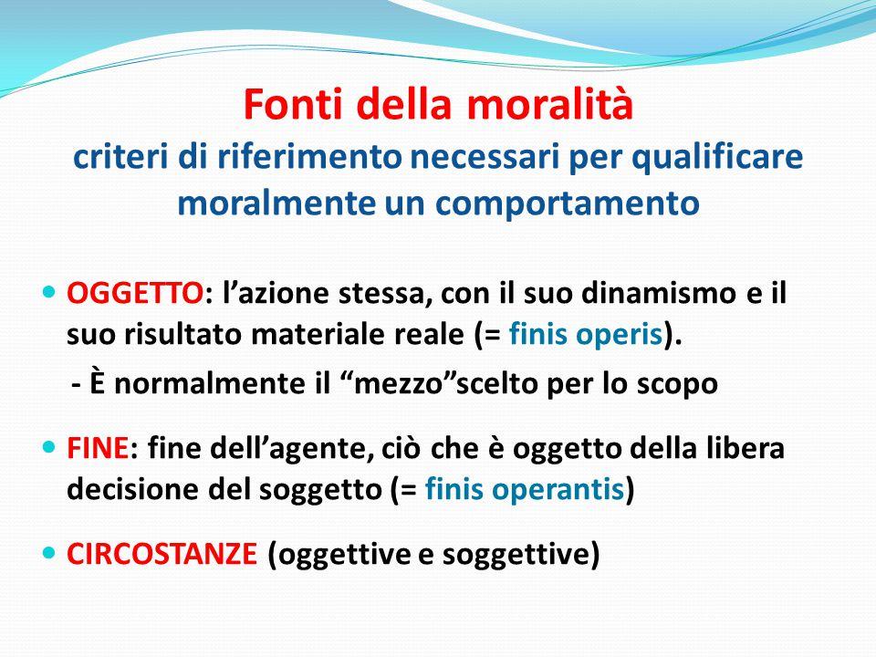 Fonti della moralità criteri di riferimento necessari per qualificare moralmente un comportamento OGGETTO: l'azione stessa, con il suo dinamismo e il suo risultato materiale reale (= finis operis).