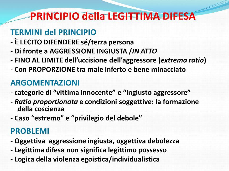 PRINCIPIO della LEGITTIMA DIFESA TERMINI del PRINCIPIO - È LECITO DIFENDERE sé/terza persona - Di fronte a AGGRESSIONE INGIUSTA /IN ATTO - FINO AL LIMITE dell'uccisione dell'aggressore (extrema ratio) - Con PROPORZIONE tra male inferto e bene minacciato ARGOMENTAZIONI - categorie di vittima innocente e ingiusto aggressore - Ratio proportionata e condizioni soggettive: la formazione della coscienza - Caso estremo e privilegio del debole PROBLEMI - Oggettiva aggressione ingiusta, oggettiva debolezza - Legittima difesa non significa legittimo possesso - Logica della violenza egoistica/individualistica