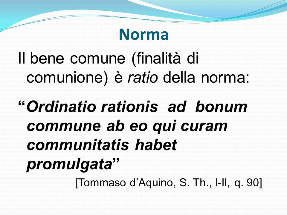 Norma Il bene comune (finalità di comunione) è ratio della norma: Ordinatio rationis ad bonum commune ab eo qui curam communitatis habet promulgata [Tommaso d'Aquino, S.