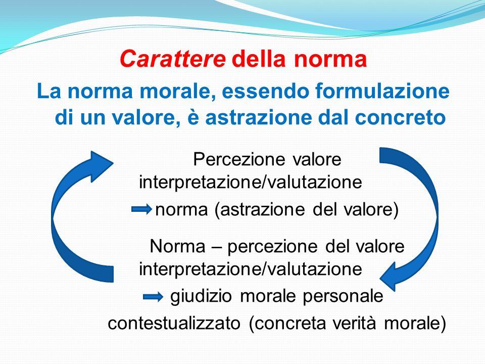 Carattere della norma La norma morale, essendo formulazione di un valore, è astrazione dal concreto Percezione valore interpretazione/valutazione norma (astrazione del valore) Norma – percezione del valore interpretazione/valutazione giudizio morale personale contestualizzato (concreta verità morale)