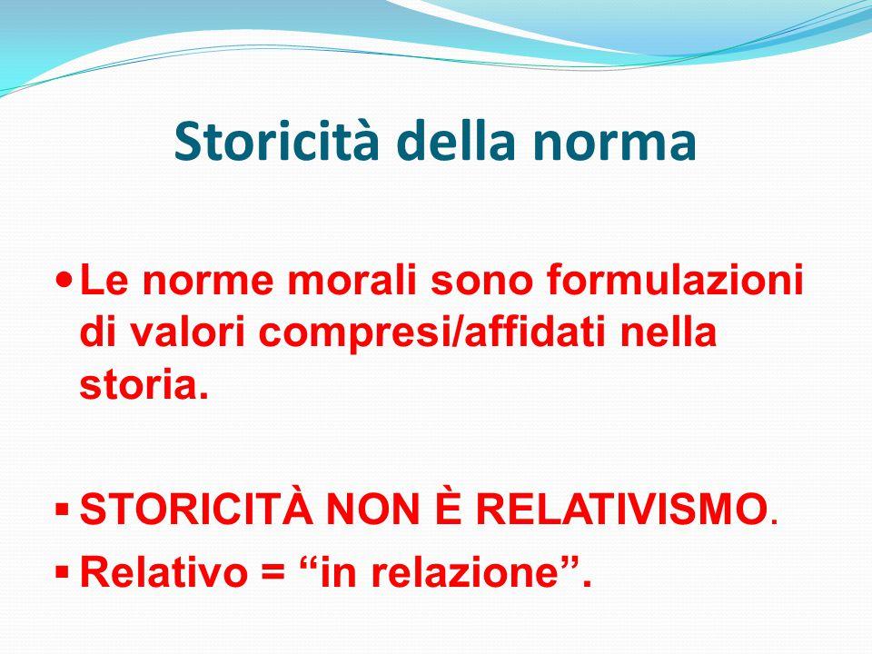 Storicità della norma Le norme morali sono formulazioni di valori compresi/affidati nella storia.