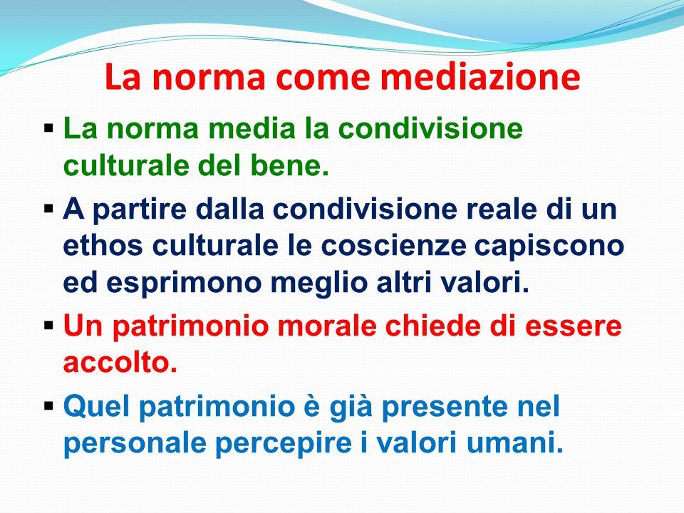 La norma come mediazione  La norma media la condivisione culturale del bene.