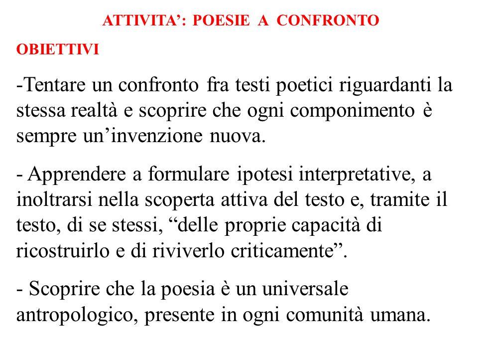 ITINERARIO: FRUIZIONE DEL TESTO POETICO La proposta è fondata sul confronto e quindi sull'analisi linguistico - interpretativa, di tre testi riferibili ad un medesimo argomento: IL MARE.