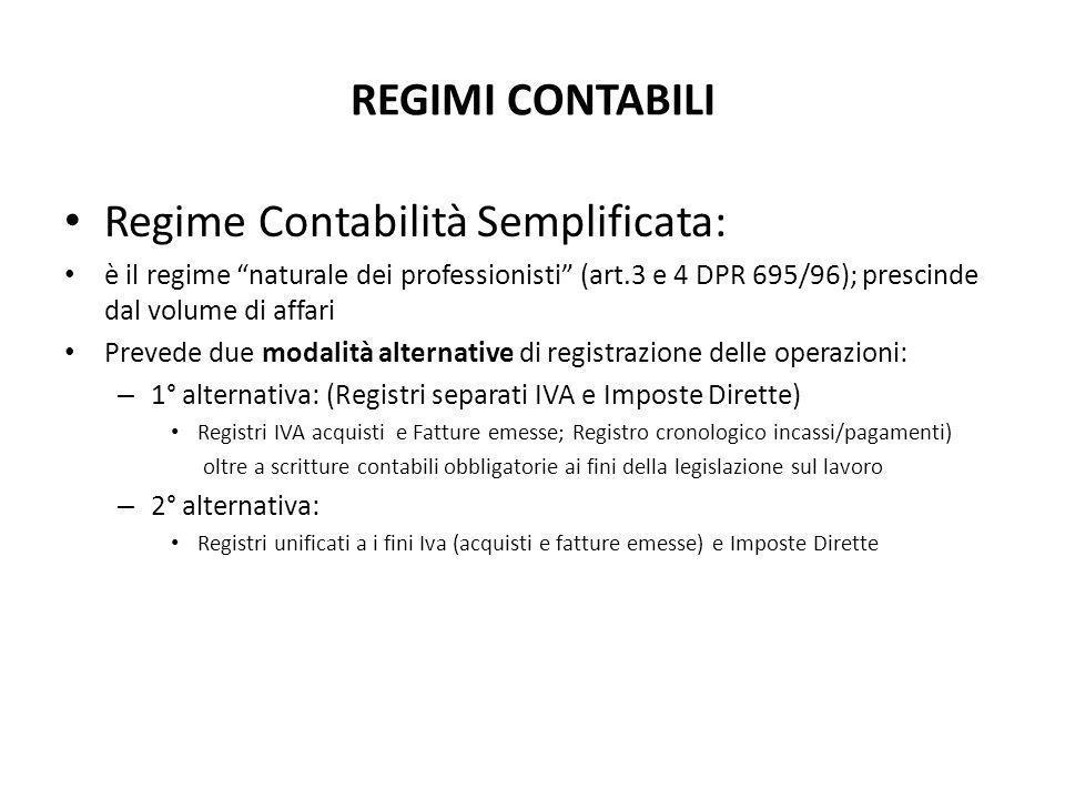 """REGIMI CONTABILI Regime Contabilità Semplificata: è il regime """"naturale dei professionisti"""" (art.3 e 4 DPR 695/96); prescinde dal volume di affari Pre"""