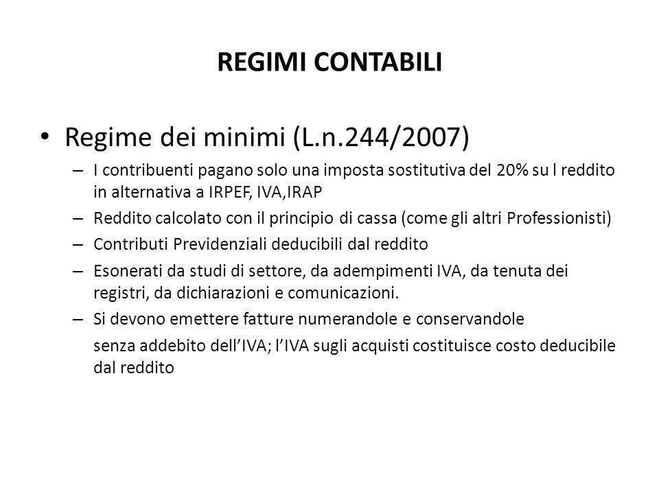 REGIMI CONTABILI Regime dei minimi (L.n.244/2007) – I contribuenti pagano solo una imposta sostitutiva del 20% su l reddito in alternativa a IRPEF, IV