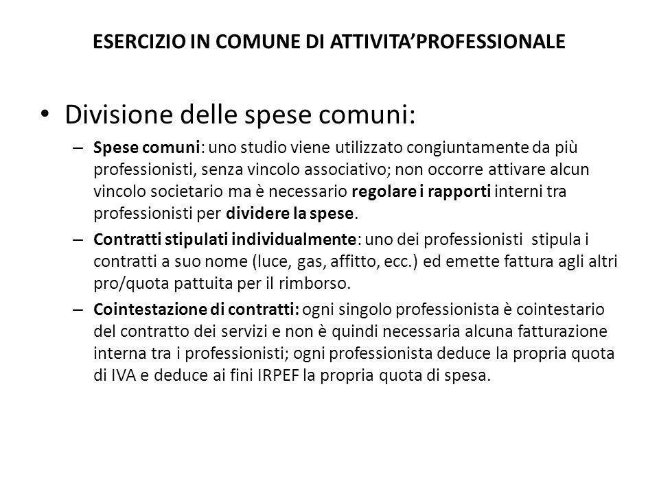 ESERCIZIO IN COMUNE DI ATTIVITA'PROFESSIONALE Divisione delle spese comuni: – Spese comuni: uno studio viene utilizzato congiuntamente da più professi
