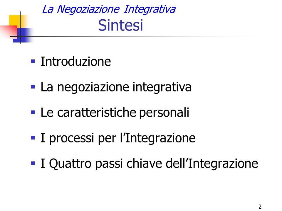 2 La Negoziazione Integrativa Sintesi  Introduzione  La negoziazione integrativa  Le caratteristiche personali  I processi per l'Integrazione  I Quattro passi chiave dell'Integrazione
