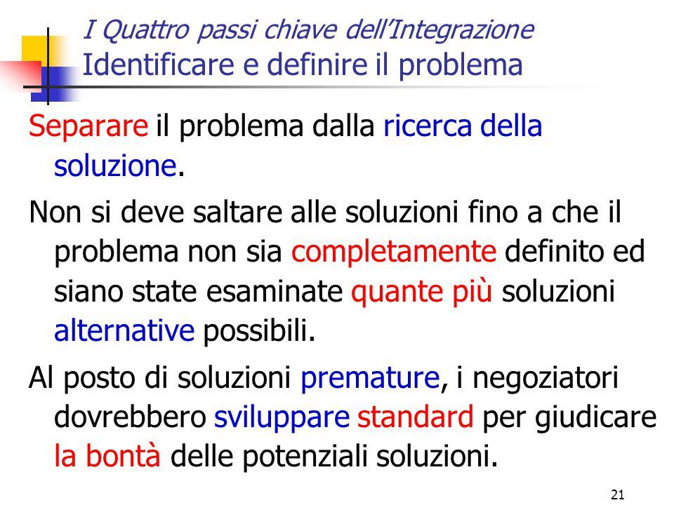 21 I Quattro passi chiave dell'Integrazione Identificare e definire il problema Separare il problema dalla ricerca della soluzione. Non si deve saltar