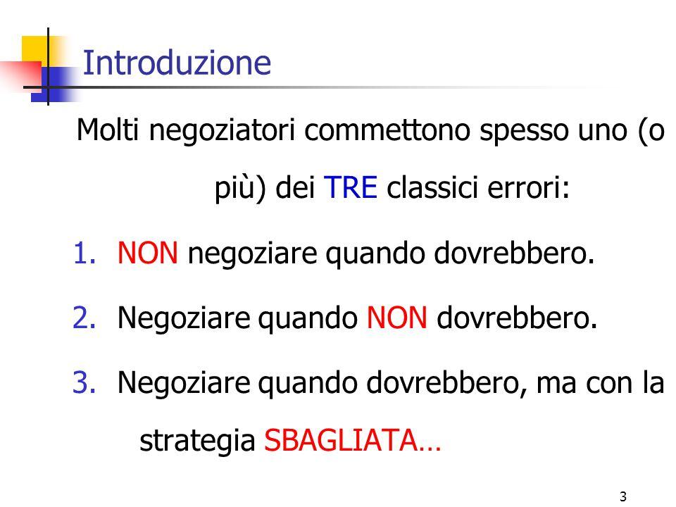 3 Molti negoziatori commettono spesso uno (o più) dei TRE classici errori: 1.NON negoziare quando dovrebbero. 2.Negoziare quando NON dovrebbero. 3.Neg