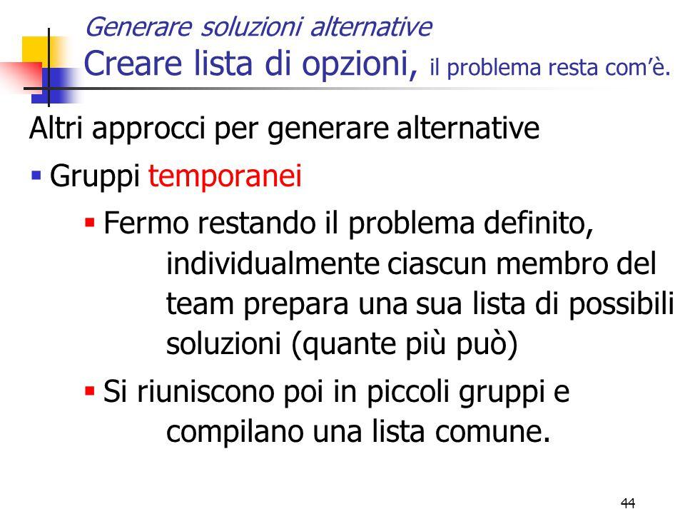 44 Altri approcci per generare alternative  Gruppi temporanei  Fermo restando il problema definito, individualmente ciascun membro del team prepara