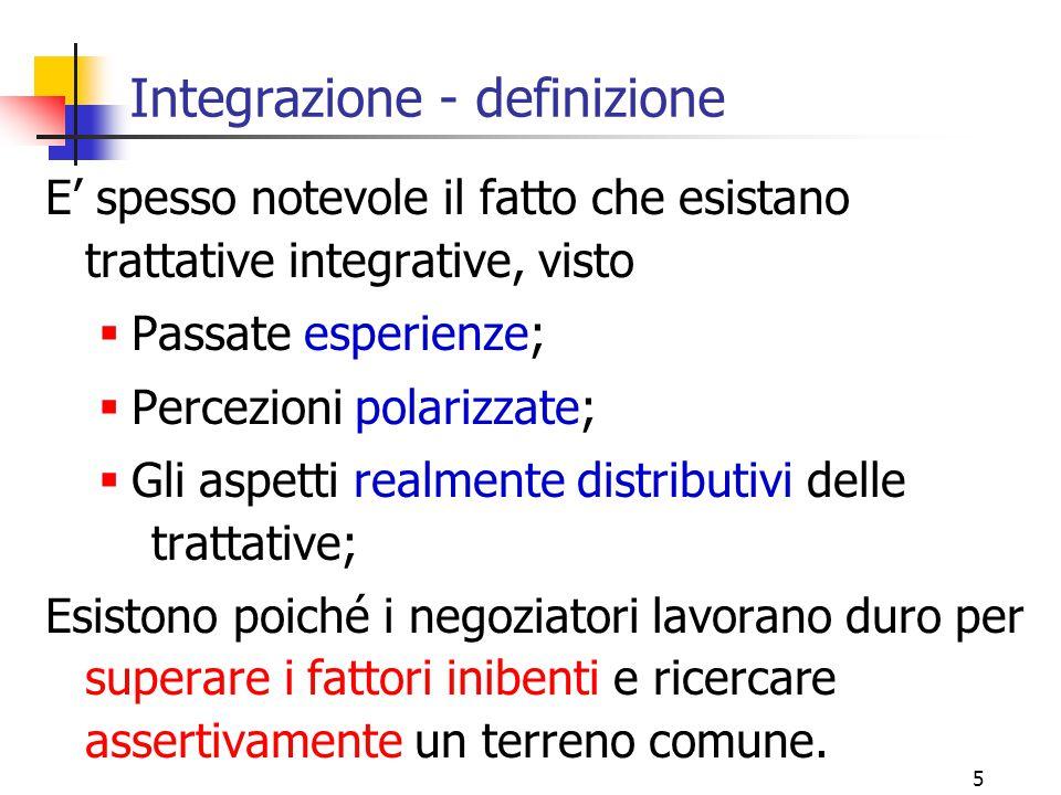 5 E' spesso notevole il fatto che esistano trattative integrative, visto  Passate esperienze;  Percezioni polarizzate;  Gli aspetti realmente distr