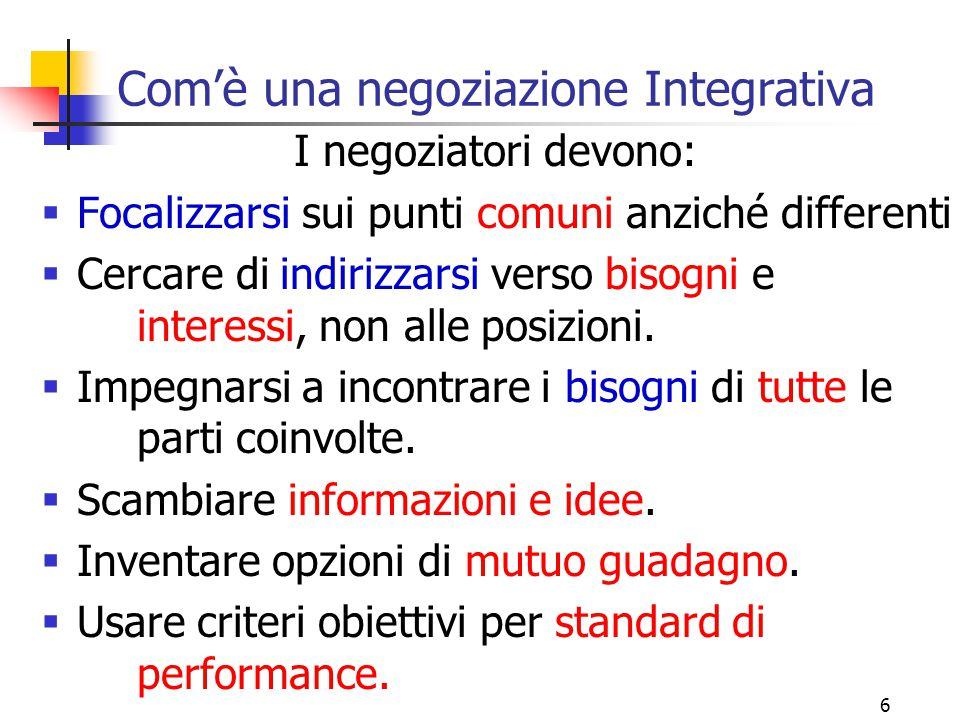 6 Com'è una negoziazione Integrativa I negoziatori devono:  Focalizzarsi sui punti comuni anziché differenti  Cercare di indirizzarsi verso bisogni