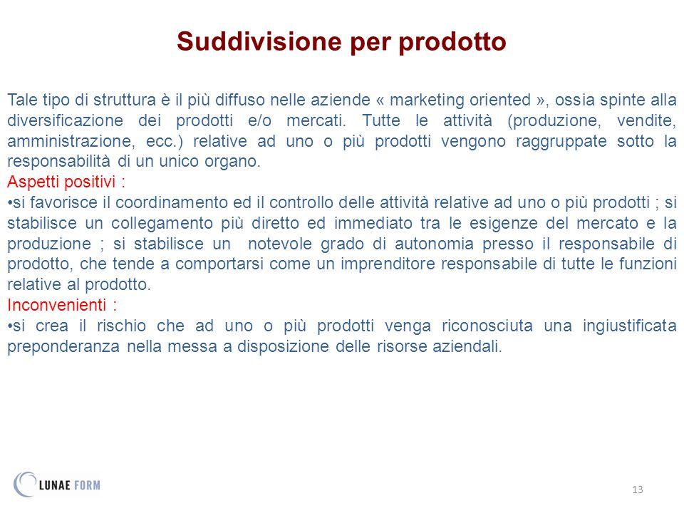 13 Suddivisione per prodotto Tale tipo di struttura è il più diffuso nelle aziende « marketing oriented », ossia spinte alla diversificazione dei prodotti e/o mercati.