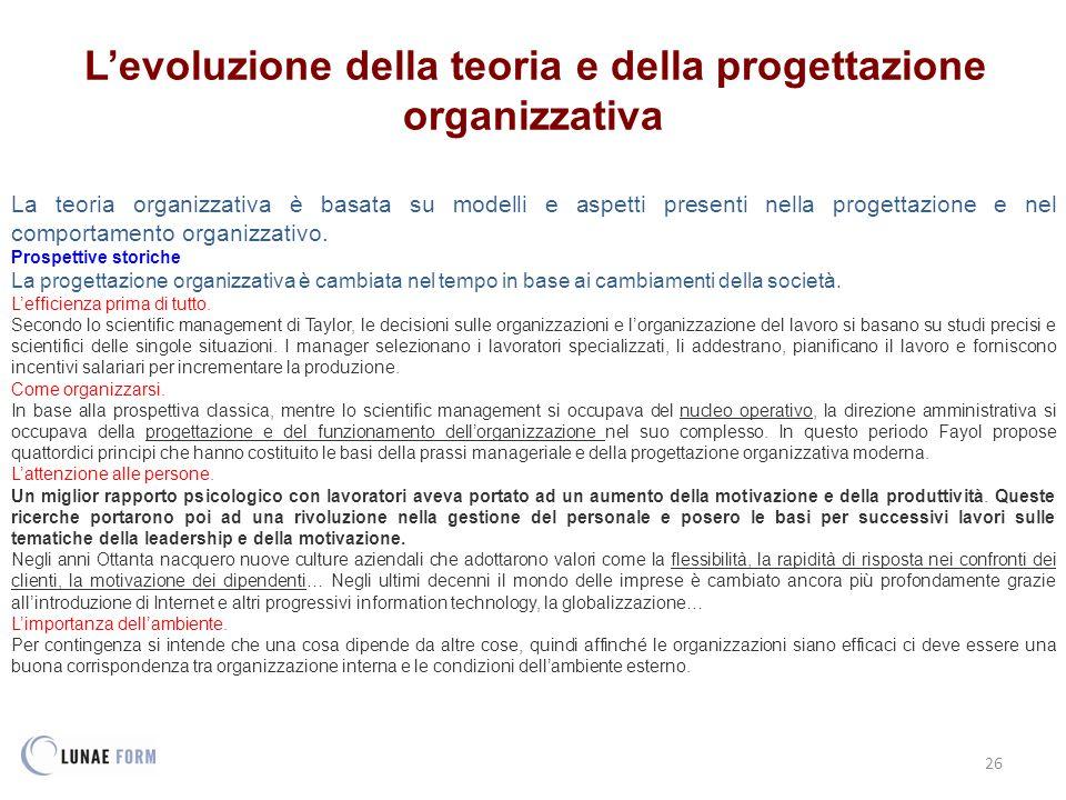 26 L'evoluzione della teoria e della progettazione organizzativa La teoria organizzativa è basata su modelli e aspetti presenti nella progettazione e nel comportamento organizzativo.