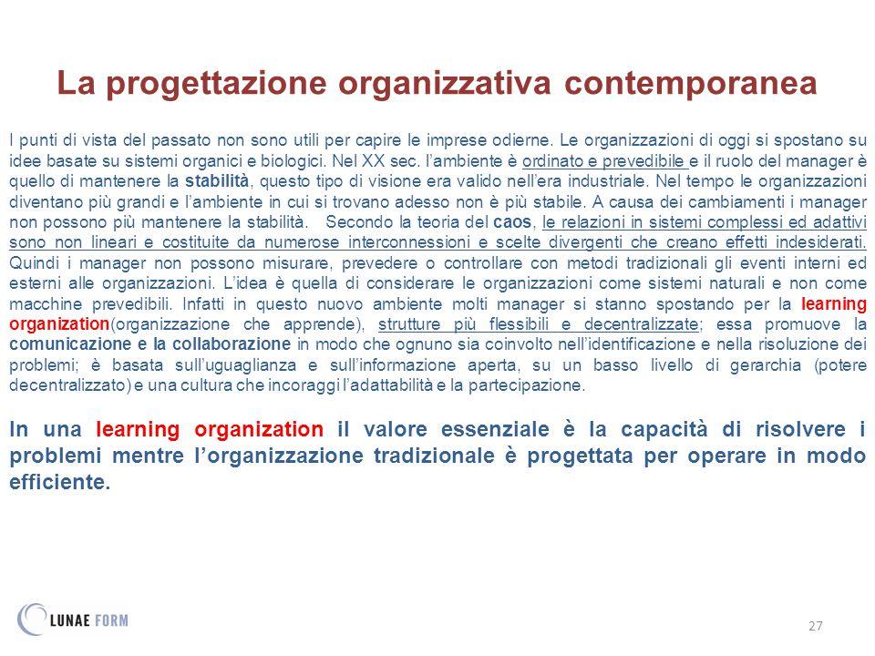 27 La progettazione organizzativa contemporanea I punti di vista del passato non sono utili per capire le imprese odierne.