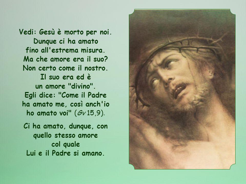 Vedi: Gesù è morto per noi.Dunque ci ha amato fino all estrema misura.