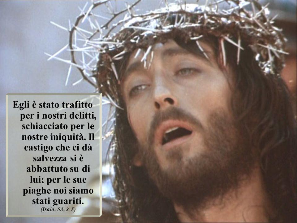Egli è stato trafitto per i nostri delitti, schiacciato per le nostre iniquità. Il castigo che ci dà salvezza si è abbattuto su di lui; per le sue pia