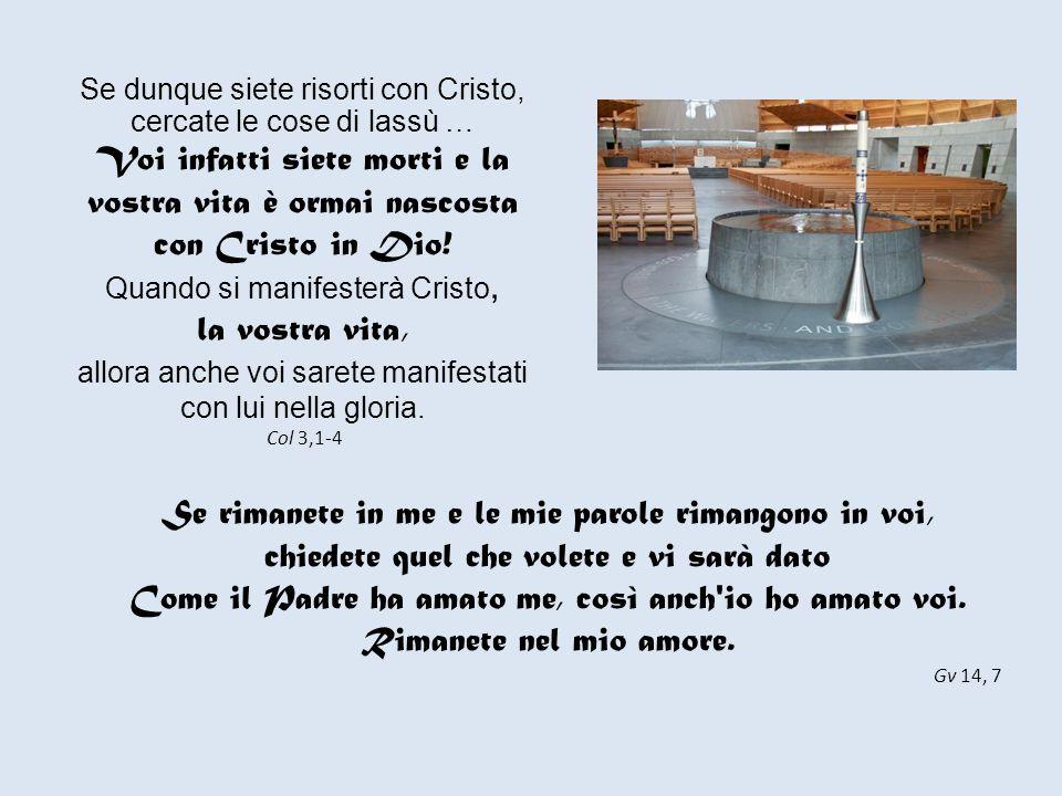 Si manseritis in me, et verba mea in vobis manserint, quodcumque volueritis petetis, et fiet vobis Gv 15, 4.7 Nazareth La grotta dell'Annunciazione Manete in me, et ego in vobis.