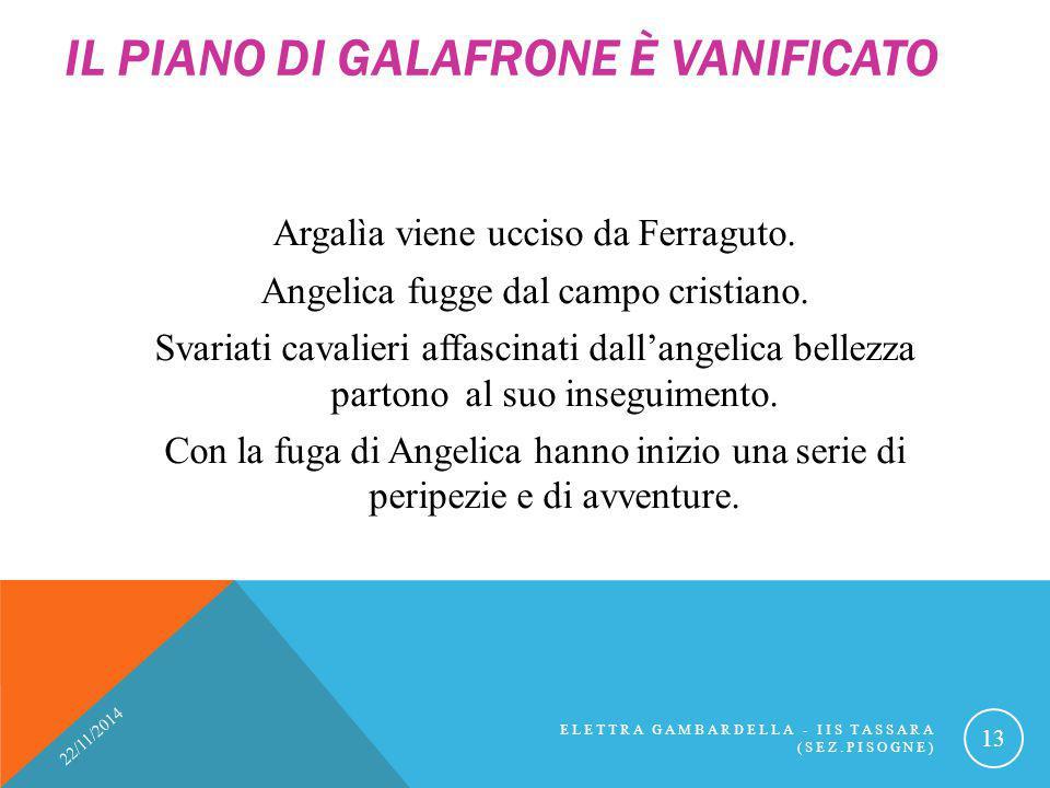 IL PIANO DI GALAFRONE È VANIFICATO Argalìa viene ucciso da Ferraguto. Angelica fugge dal campo cristiano. Svariati cavalieri affascinati dall'angelica