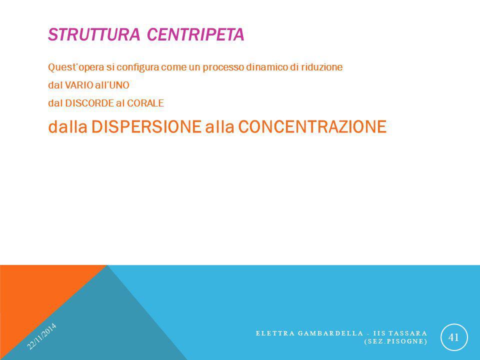 STRUTTURA CENTRIPETA Quest'opera si configura come un processo dinamico di riduzione dal VARIO all'UNO dal DISCORDE al CORALE dalla DISPERSIONE alla C