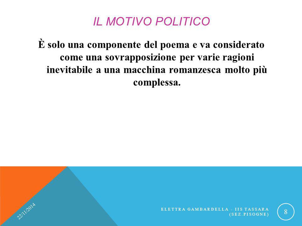 IL MOTIVO POLITICO È solo una componente del poema e va considerato come una sovrapposizione per varie ragioni inevitabile a una macchina romanzesca m