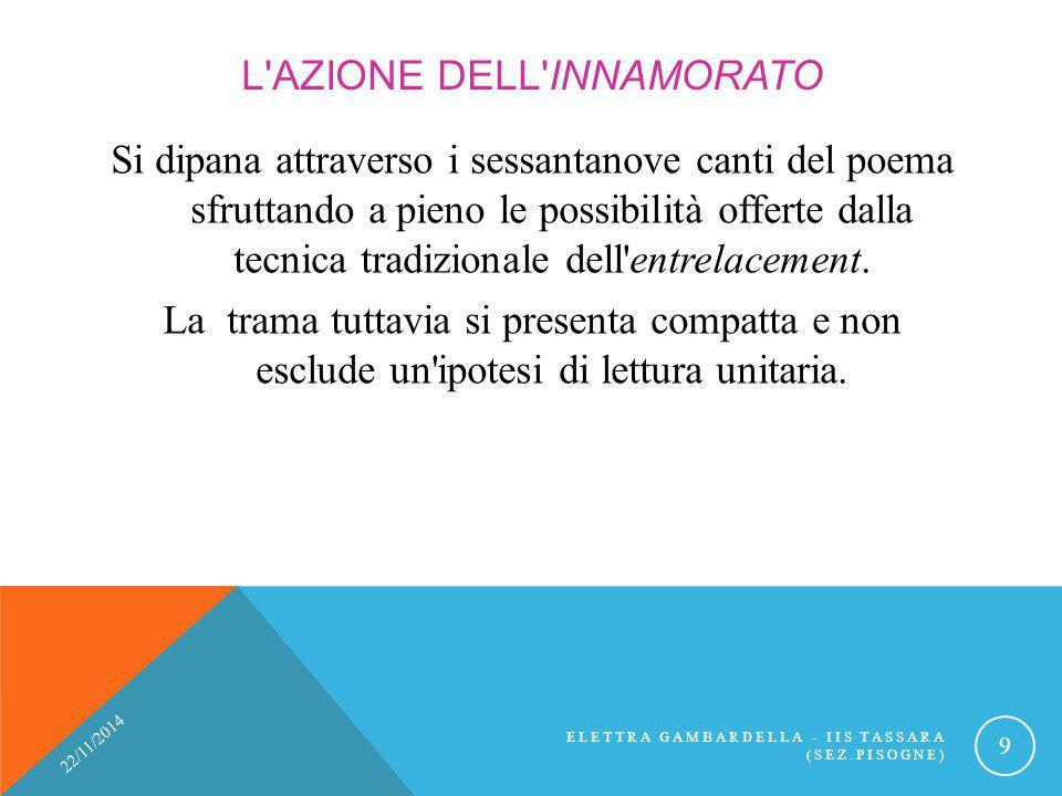 L'AZIONE DELL'INNAMORATO Si dipana attraverso i sessantanove canti del poema sfruttando a pieno le possibilità offerte dalla tecnica tradizionale dell