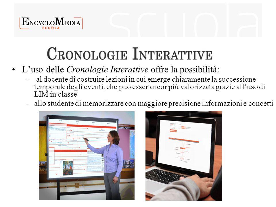 L'uso delle Cronologie Interattive offre la possibilità: – al docente di costruire lezioni in cui emerge chiaramente la successione temporale degli ev