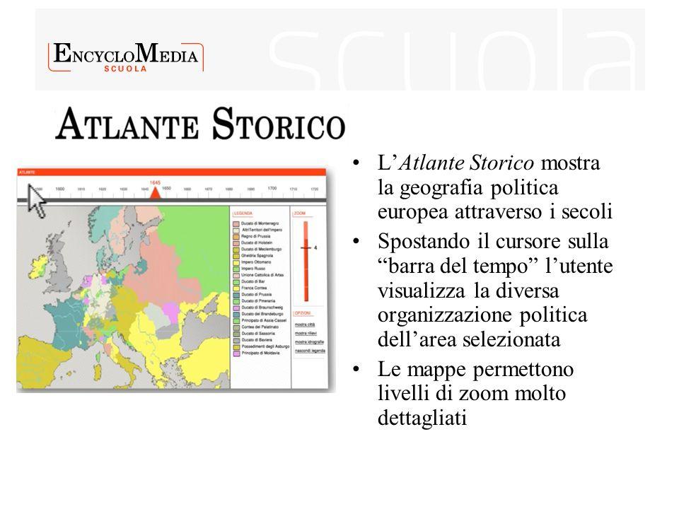 """L'Atlante Storico mostra la geografia politica europea attraverso i secoli Spostando il cursore sulla """"barra del tempo"""" l'utente visualizza la diversa"""