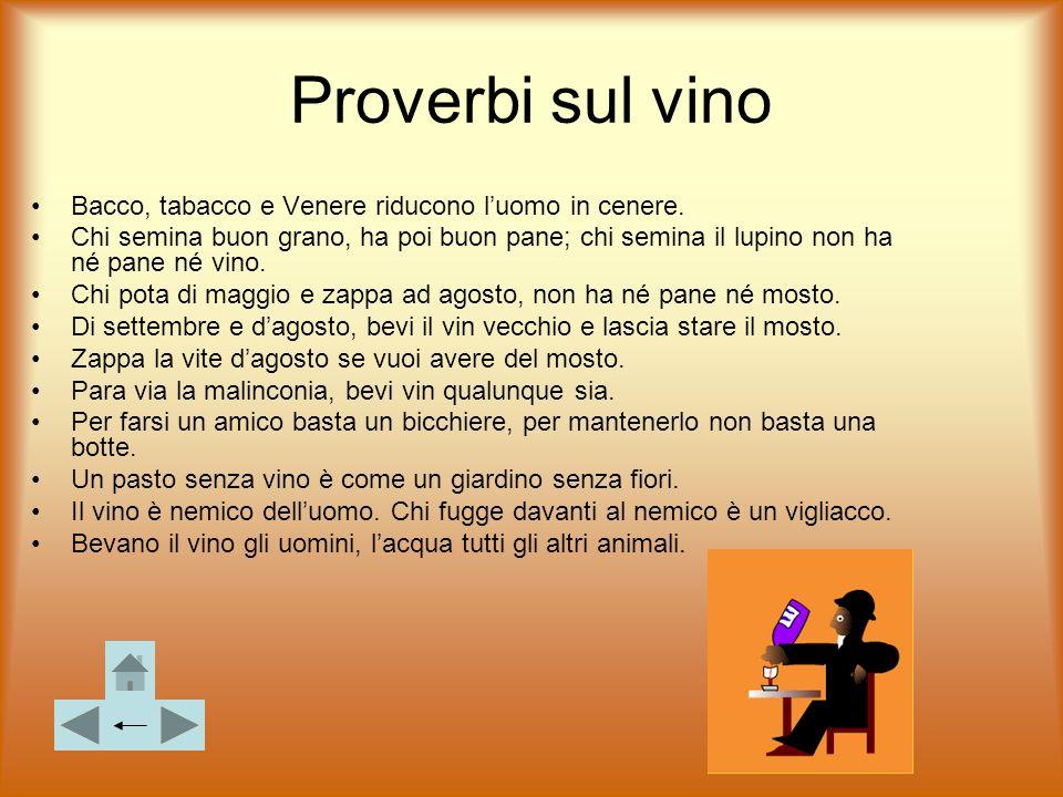 Proverbi sul vino Bacco, tabacco e Venere riducono l'uomo in cenere. Chi semina buon grano, ha poi buon pane; chi semina il lupino non ha né pane né v