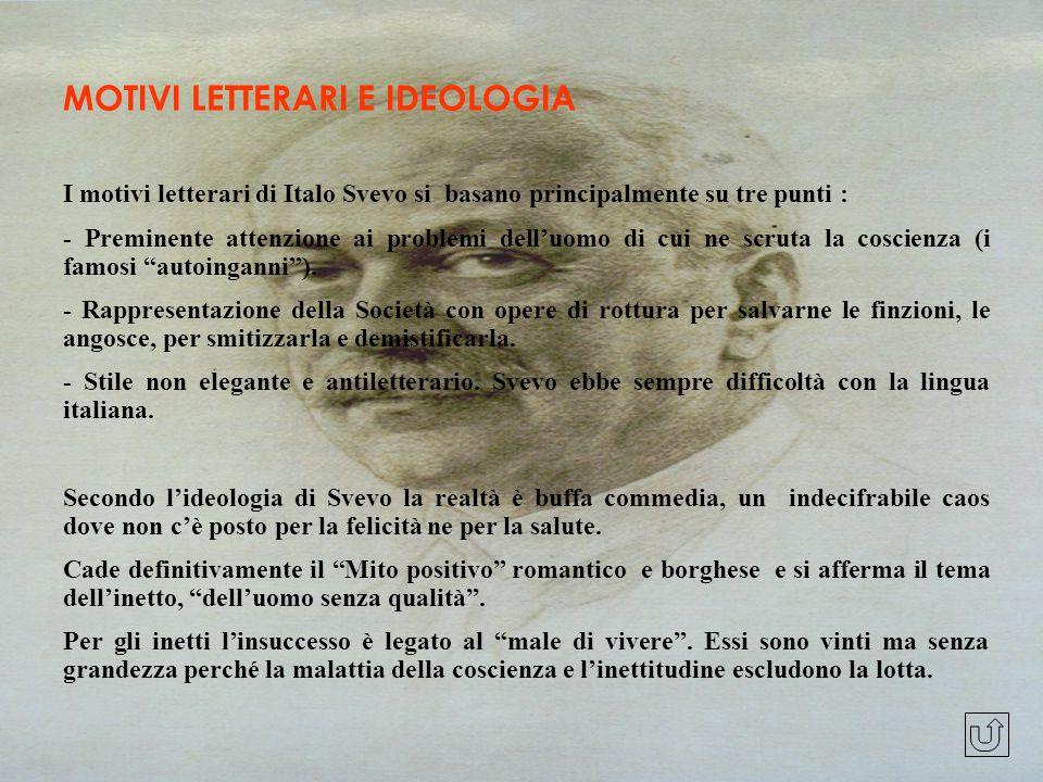 MOTIVI LETTERARI E IDEOLOGIA I motivi letterari di Italo Svevo si basano principalmente su tre punti : - Preminente attenzione ai problemi dell'uomo d
