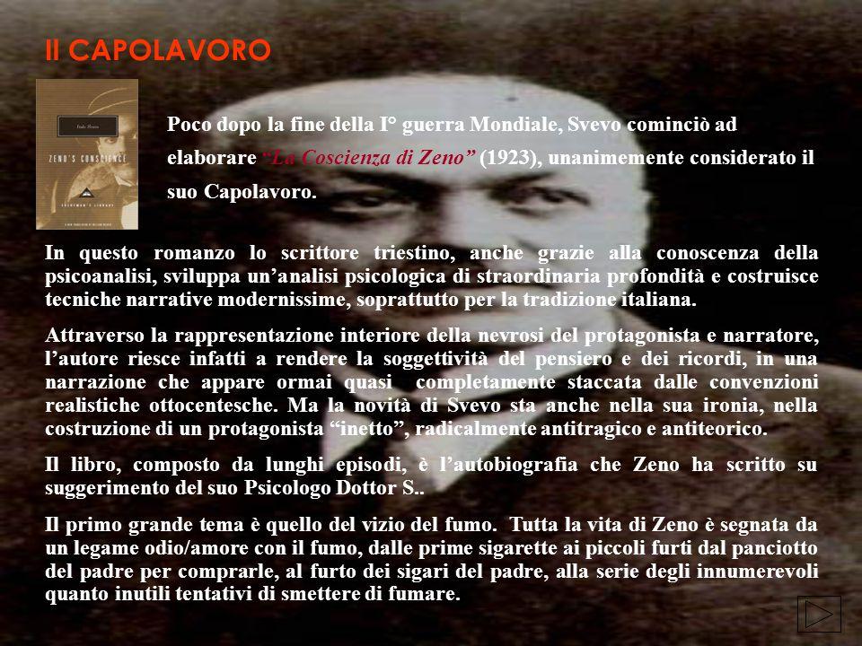 Poco dopo la fine della I° guerra Mondiale, Svevo cominciò ad elaborare La Coscienza di Zeno (1923), unanimemente considerato il suo Capolavoro.