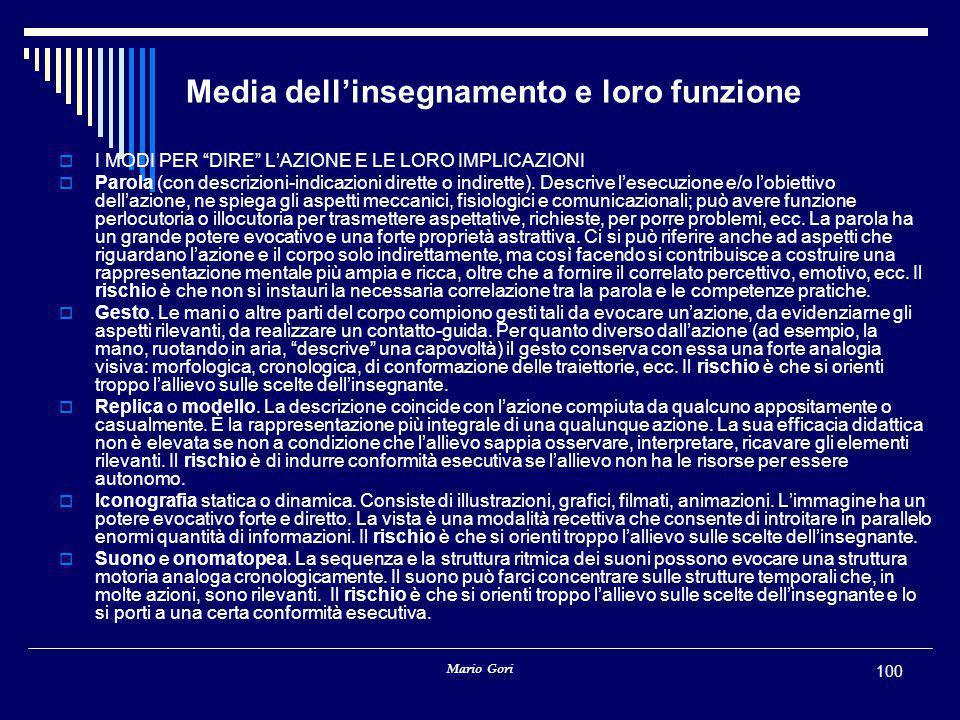 """Mario Gori 100 Media dell'insegnamento e loro funzione  I MODI PER """"DIRE"""" L'AZIONE E LE LORO IMPLICAZIONI  Parola (con descrizioni-indicazioni diret"""