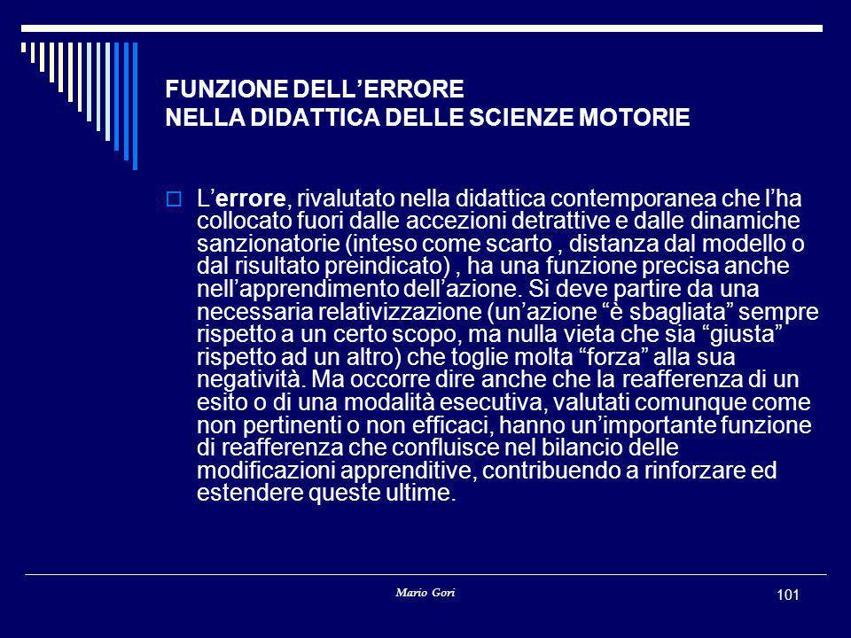 Mario Gori 101 FUNZIONE DELL'ERRORE NELLA DIDATTICA DELLE SCIENZE MOTORIE  L'errore, rivalutato nella didattica contemporanea che l'ha collocato fuor