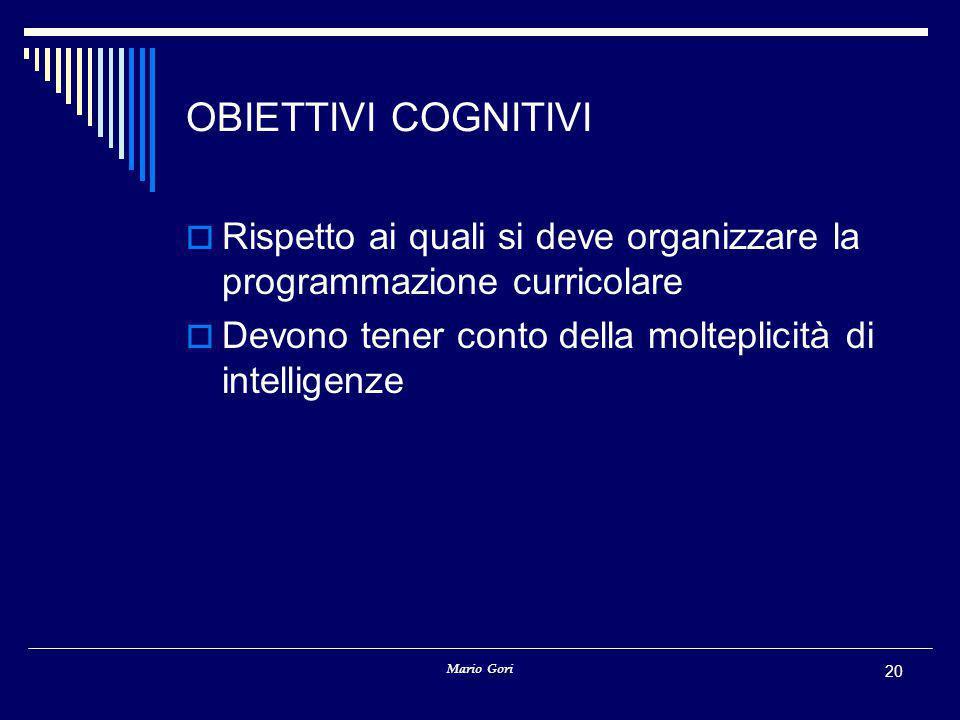 Mario Gori 20 OBIETTIVI COGNITIVI  Rispetto ai quali si deve organizzare la programmazione curricolare  Devono tener conto della molteplicità di intelligenze