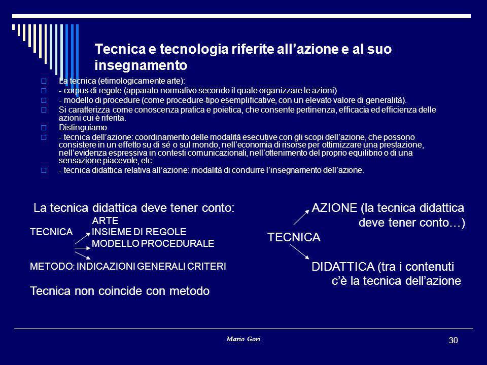 Mario Gori 30 Tecnica e tecnologia riferite all'azione e al suo insegnamento  La tecnica (etimologicamente arte):  - corpus di regole (apparato norm