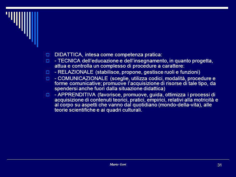 Mario Gori 31  DIDATTICA, intesa come competenza pratica:  - TECNICA dell'educazione e dell'insegnamento, in quanto progetta, attua e controlla un complesso di procedure a carattere:  - RELAZIONALE (stabilisce, propone, gestisce ruoli e funzioni)  - COMUNICAZIONALE (sceglie, utilizza codici, modalità, procedure e forme comunicative; promuove l'acquisizione di risorse di tale tipo, da spendersi anche fuori dalla situazione didattica)  - APPRENDITIVA (favorisce, promuove, guida, ottimizza i processi di acquisizione di contenuti teorici, pratici, empirici, relativi alla motricità e al corpo su aspetti che vanno dal quotidiano (mondo-della-vita), alle teorie scientifiche e ai quadri culturali.