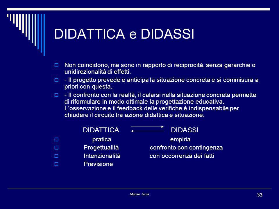 Mario Gori 33 DIDATTICA e DIDASSI  Non coincidono, ma sono in rapporto di reciprocità, senza gerarchie o unidirezionalità di effetti.  - Il progetto