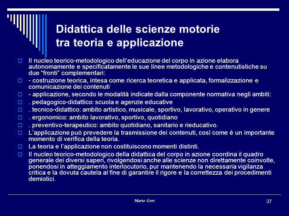 Mario Gori 37 Didattica delle scienze motorie tra teoria e applicazione  Il nucleo teorico-metodologico dell'educazione del corpo in azione elabora a