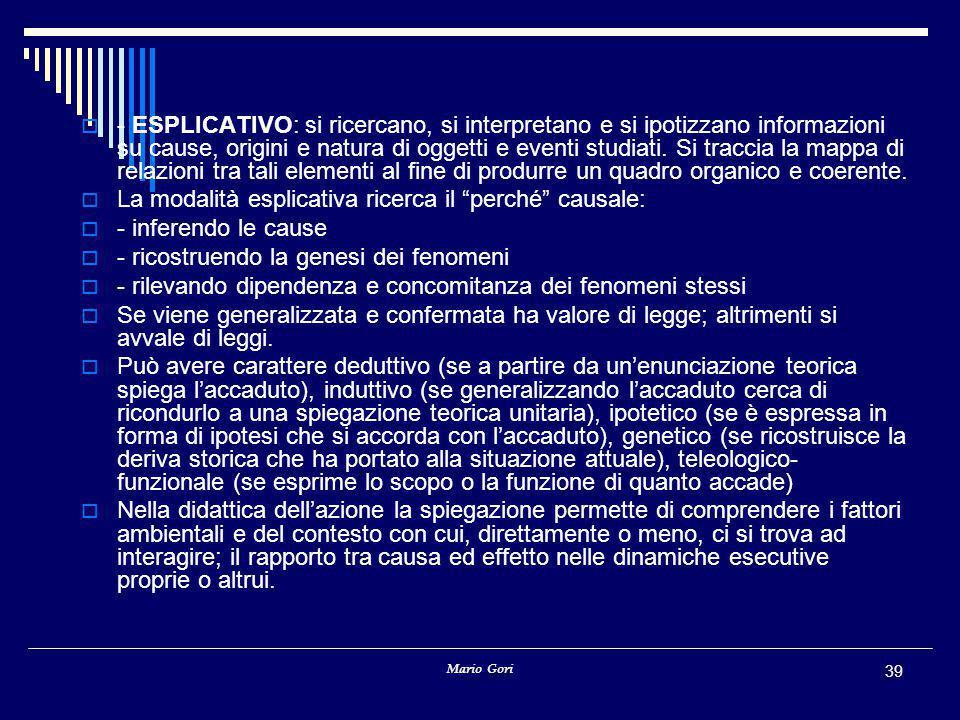 Mario Gori 39  - ESPLICATIVO: si ricercano, si interpretano e si ipotizzano informazioni su cause, origini e natura di oggetti e eventi studiati. Si