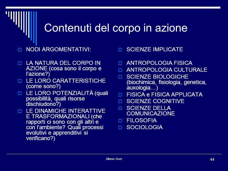 Mario Gori 44 Contenuti del corpo in azione  NODI ARGOMENTATIVI:  LA NATURA DEL CORPO IN AZIONE (cosa sono il corpo e l'azione?)  LE LORO CARATTERISTICHE (come sono?)  LE LORO POTENZIALITÀ (quali possibilità, quali risorse dischiudono?)  LE DINAMICHE INTERATTIVE E TRASFORMAZIONALI (che rapporti ci sono con gli altri e con l'ambiente.