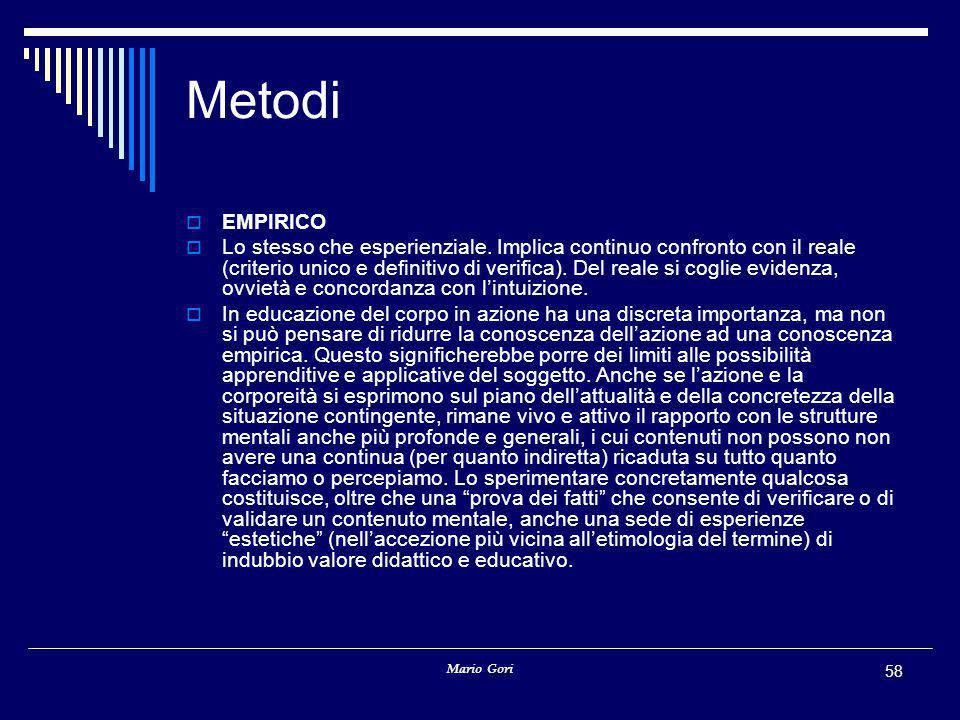 Mario Gori 58 Metodi  EMPIRICO  Lo stesso che esperienziale. Implica continuo confronto con il reale (criterio unico e definitivo di verifica). Del