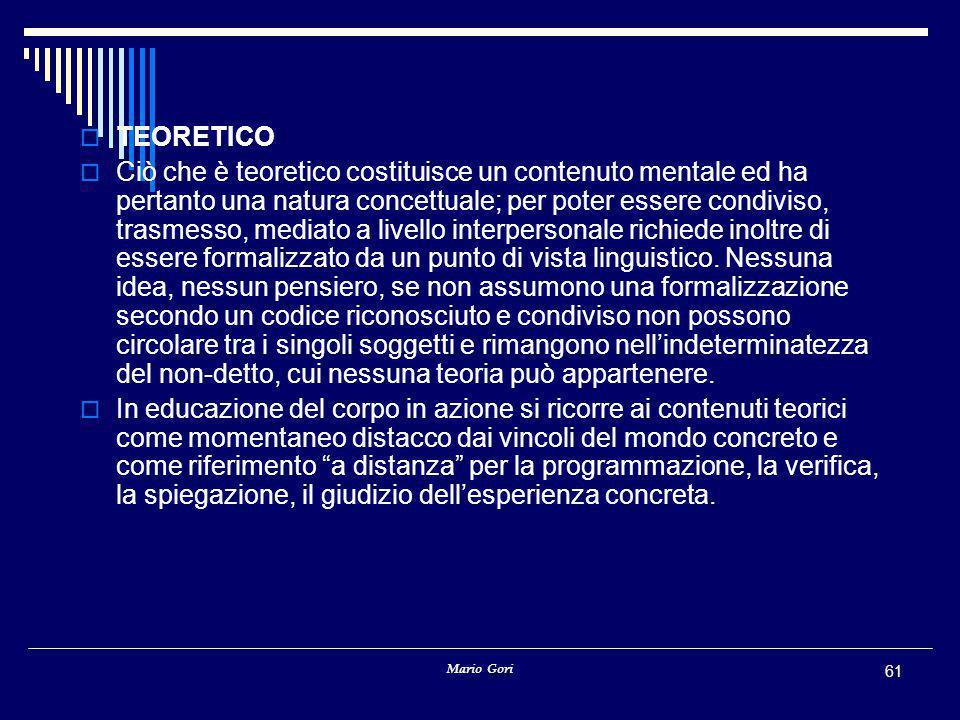 Mario Gori 61  TEORETICO  Ciò che è teoretico costituisce un contenuto mentale ed ha pertanto una natura concettuale; per poter essere condiviso, trasmesso, mediato a livello interpersonale richiede inoltre di essere formalizzato da un punto di vista linguistico.