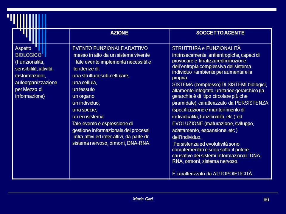Mario Gori 66 AZIONESOGGETTO AGENTE Aspetto BIOLOGICO (Funzionalità, sensibilità, attività, rasformazioni, autoorganizzazione per Mezzo di informazione) EVENTO FUNZIONALE ADATTIVO messo in atto da un sistema vivente.